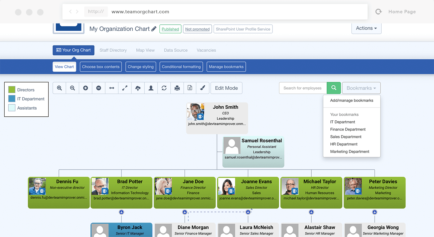 Teamorgchart organization charts for office 365 sharepoint